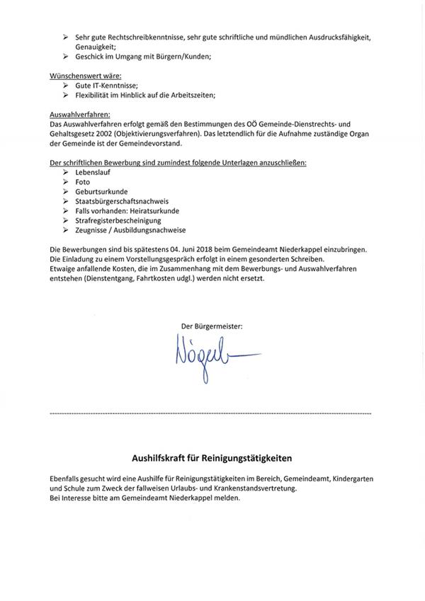 Kundmachung Stellenausschreibung - Niederkappel - RiS-Kommunal ...
